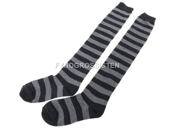 Knästrumpor High Long Striped Stocking Dark Gray Fri Frakt Ny
