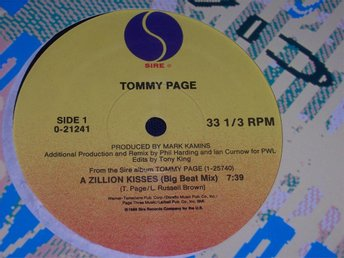 "TOMMY PAGE - A ZILLION KISSES 12"" 1988 BIG BEAT MIX"
