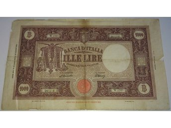 Italy ¤ P72r ¤ 1000 Lire ¤ 1943 1947 (scarce date) ¤ W REPLACEMENT - Kbh S (köpenhamn) - Italy ¤ P72r ¤ 1000 Lire ¤ 1943 1947 (scarce date) ¤ W REPLACEMENT - Kbh S (köpenhamn)