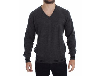 Versace - Gray Wool V-neck Sweater
