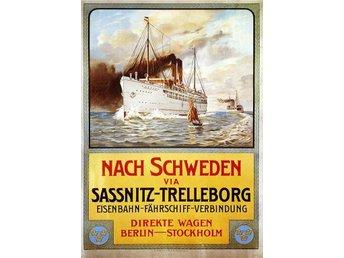 BERLIN SASSNITZ TRELLEBORG STOCKHOLM BÅT JÄRNVÄG LINJE 1906 Stor A1 poster - Helsingborg - BERLIN SASSNITZ TRELLEBORG STOCKHOLM BÅT JÄRNVÄG LINJE 1906 Stor A1 poster - Helsingborg