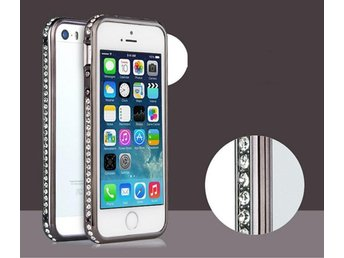 IPhone 5 5S Diamond Metall Bumper Skal Case Skydd Svart