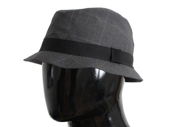 Dolce & Gabbana - Gray Check Cotton Fedora Trilby Hat