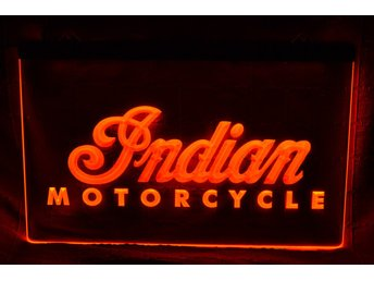 Indian Motorcycles Röd LED Reklamskylt Skylt Logo Ny