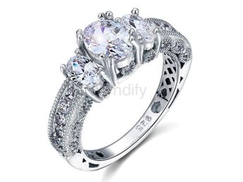 Ring Diamond 925 Sterling Silver Wedding Engagement size 5