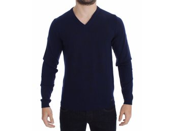 Versace - Blue Wool V-neck Sweater