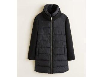 Svart vinterjacka ull & vadderad black padded wool winter jacket 3638