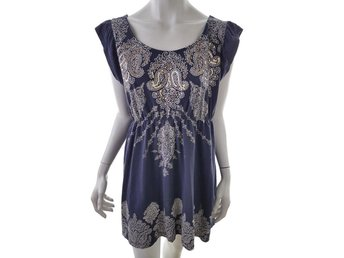 Dorothy perkins Short Sleeve Tunic Size 18 Navy blue Cotton Print sequins