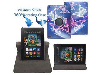 Rotating Stand Leather Case Cover For Amazon Kindle Fire Tablet