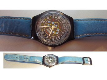 "ELLYPTING! Atomic ""24 HR MOVEMENT"" Swatch with Blue Leather Band! RARE!"