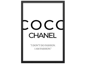 Affisch Poster Coco Chanel Citat Fashion 33x48