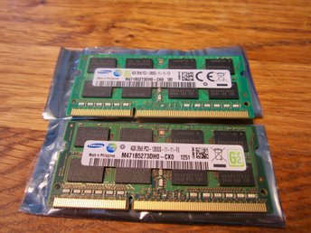 Ram-minne 8 GB SAMSUNG SO-Dimm DDR3 - 1600 Mhz - 12800S  -  (4 Gb +  4 GB).