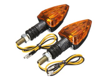 2X Motorcycle Turn Signal Lamp Motor Bike E-marked Carbon...