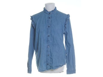 & Other Stories, Jeansjacka, Strl: 40, Chambray Frill Blouse, Blå