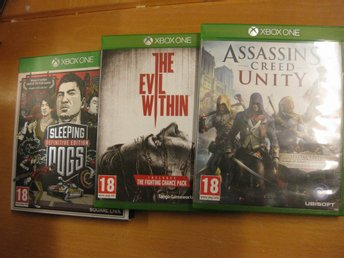 ASSASSINS CREED UNITY + THE EVIL WITHIN + SLEEPING DOGS - 3 ST XBOX ONE SPEL