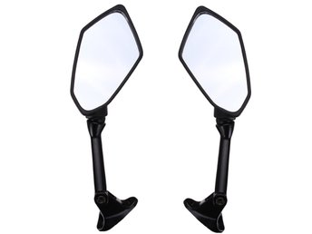 Motorcycle Side Mirror Black Diamond Pattern For KAWASAKI...