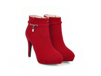 Dam Boots Pointed Toe Zipper Ladies Ankle Boots Red 42