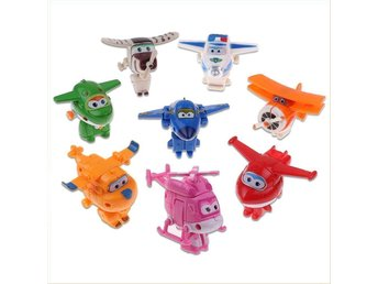 8 st  Mästarflygarna Super Wings Transformera Mini Figurer Leksak 2017