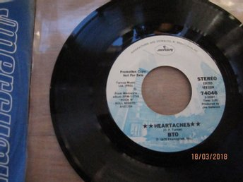 B.T.O, Heartaches, Promo, Mercury, 1979, mint, Bachman Turner Overdrive