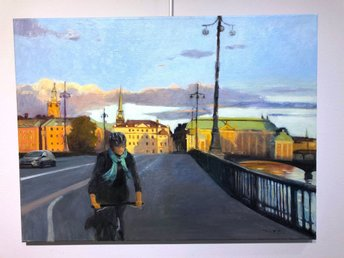 John Ma | Olja på duk |  Early Morning Cycling | 80 x 60 cm