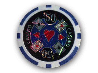 poker chips Casino laser $50 blå-50 st.