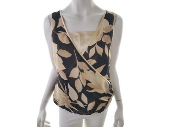 Peter Martin Top Blouse Size 12 (40) Black Flowers beige