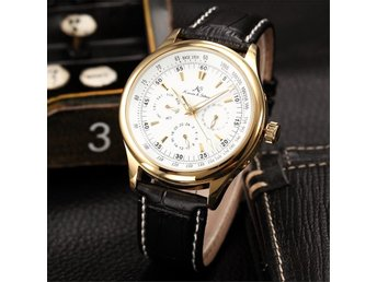 KS 6 Hands Date Day Military Sport Automatic Mechanical Leather Strap Mens Watch
