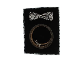 Dolce & Gabbana - Black Silk Bowtie & Leather Belt Gift Box
