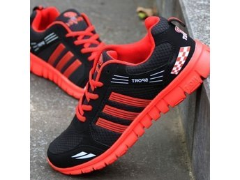 running skor strl 41 for spring autumn herrskor black with red