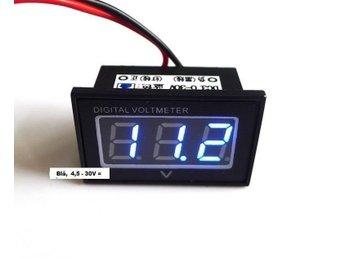 Voltmeter blå LED display 4,5 - 30V likspänning, vattentät - Kungälv - Voltmeter blå LED display 4,5 - 30V likspänning, vattentät - Kungälv