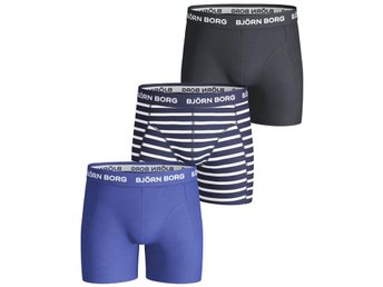 Björn Borg 3-Pack Boys Shorts - BB Stripe, Sodalite Blue (122-128)