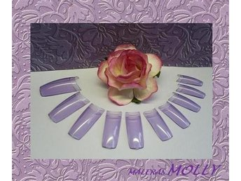 PROFFS - TIPPAR - French  Nail Tips - CLEAR - PURPLE   100st