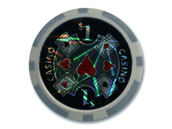 poker chips Casino laser $1 grå-50 st.