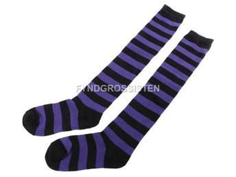 Knästrumpor High Long Striped Stocking Purple Fri Frakt Ny