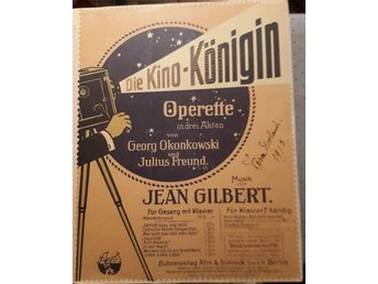 Die Kino - Königin Operette Potpourri för piano, Musik av Jean Gilbert 1915 - Hellerup - Die Kino - Königin Operette Potpourri för piano, Musik av Jean Gilbert 1915 - Hellerup