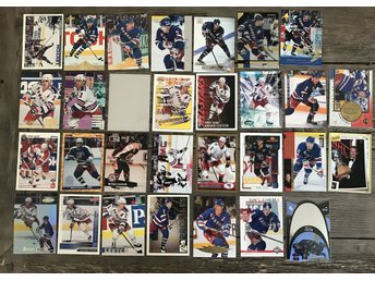LOT! 30 st Brian Leetch Hockeykort + pärm hockeybilder New York Rangers