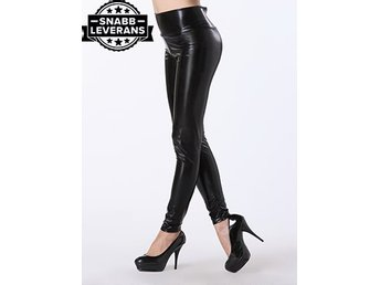 Svart Latex Leggings Sexig Latex Latexstrumpa PU Leather