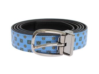 Dolce & Gabbana - Blue Leather Silver Buckle Waist Belt
