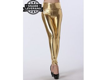 Guld Latex Leggings Sexig Latex Latexstrumpa PU Leather