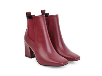 Dam Boots Heel Square Toe Ladies Motorcyclr Boots Red 42
