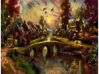 HOUSES BY CANAL  Olja på Duk Oil Painting Print Canvas