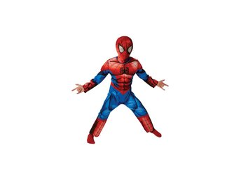 SPIDERMAN 98/104 cl (3-4 år) Deluxe dräkt med mask Spindelmannen Marvel