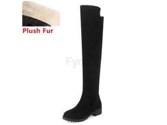 Dam Boots With Plush Fur Botas Women Footwears black fur 42