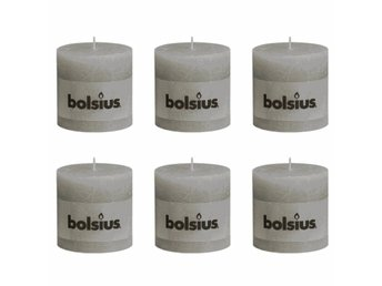 Bolsius Blockljus 6-pack 100x100 mm ljusgrå