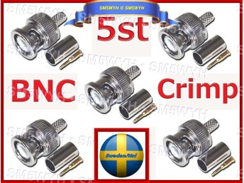 BNC Plug (5st) Crimp Connectors Adapter för RG58 Coax Male Antenn Kabel