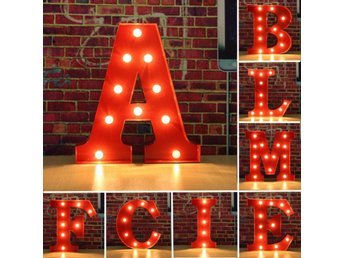 Metal Marquee Red Shell LED Light Letter A to M Sign Carn...