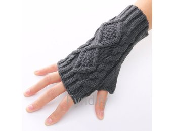 Fingerless Knitted Long Gloves Grå 19cm