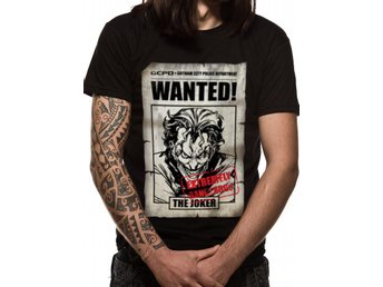 BATMAN - JOKER WANTED (UNISEX)  T-Shirt - Large
