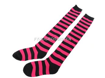 Knästrumpor High Long Striped Stocking Rose Red Fri Frakt Ny