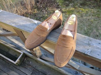 Hackett by Crockett & Jones pennyloafers i mocka storlek 8,5